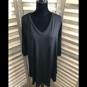 Black V-Neck Swing Tunic Dress